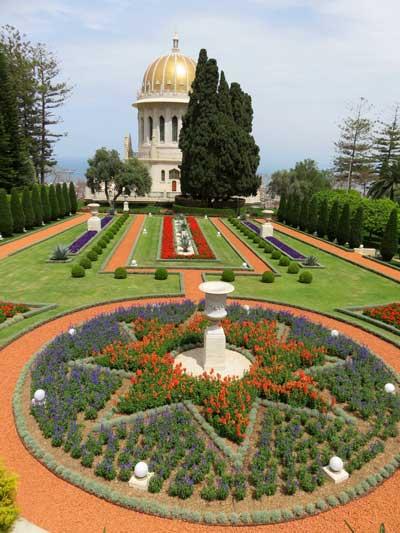 Jardins bahai com o Santuário do Bab