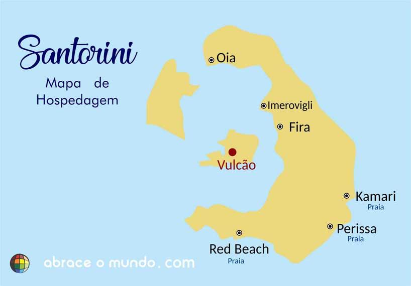 santorini mapa de hoteis