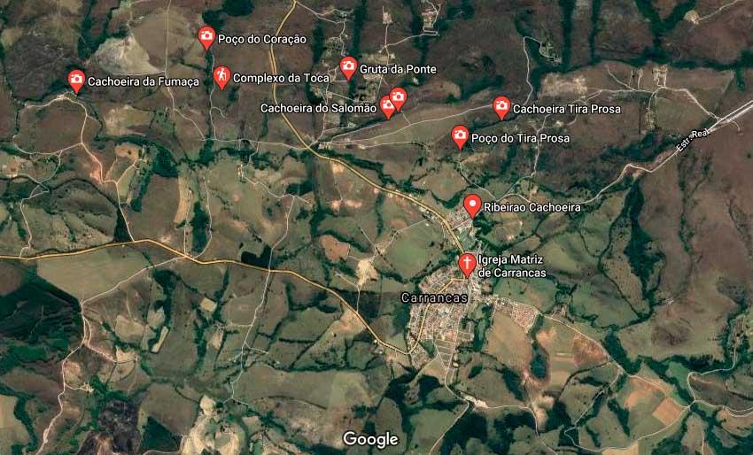 Mapa das cachoeiras em Carrancas Minas Gerais