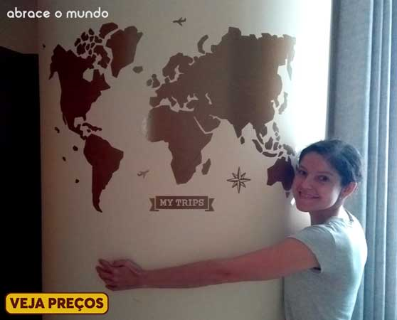 mapa mundi de parede